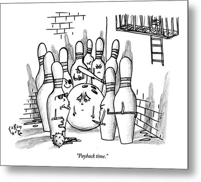 A Rough Gang Of Ten Bowling Pins Holding Weapons Metal Print