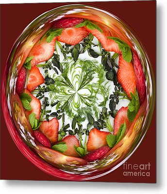 A Round Of Fresh Fruit Salad Metal Print by Anne Gilbert
