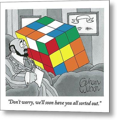 A Rubik's Cube Is Seen In A Psychiatrist's Office Metal Print