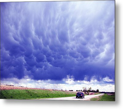 A Rural Nebraska Highway And Magnificent Sky Metal Print by Tyler Robbins