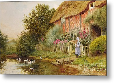 A Rustic Retreat Metal Print by Arthur Claude Strachan