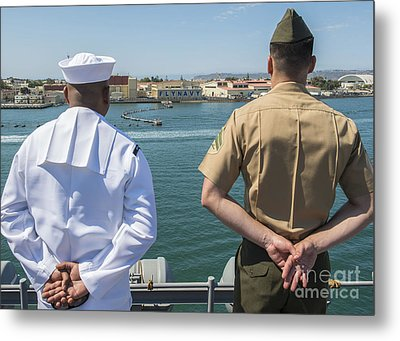 A Sailor And Marine Man The Rails Metal Print by Stocktrek Images