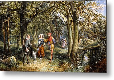 A Scene From As You Like It Rosalind Celia And Jacques In The Forest Of Arden Metal Print by John Edmund Buckley