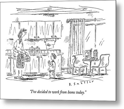 A Schoolboy Speaks To His Mother In The Kitchen Metal Print