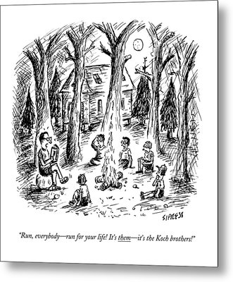 A Scout Leader Tells A Group Of Young Campers Metal Print by David Sipress