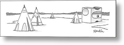 A Set Of Tepees Stands Next To A Large Pencil Metal Print