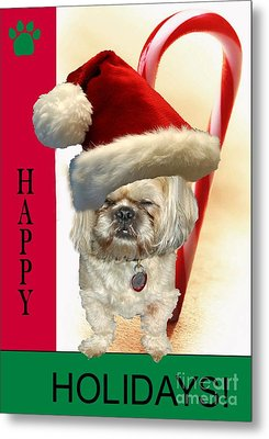 Metal Print featuring the digital art A Shih Tzu's Happy Holidays Greeting by Polly Peacock