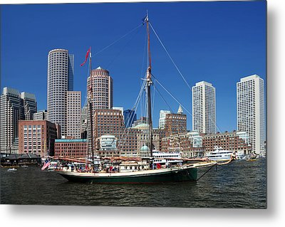 Metal Print featuring the photograph A Ship In Boston Harbor by Mitchell Grosky