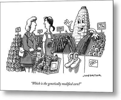 A Shopper Asks A Grocery Store Employee Metal Print