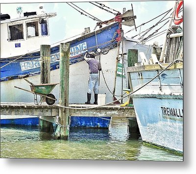 A Shrimper's Work Is Never Done Metal Print by Patricia Greer
