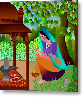 Metal Print featuring the digital art A Silent Prayer In Solitude by Latha Gokuldas Panicker