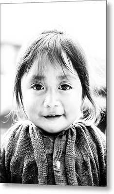 A Small Guatemalam Life - Black And White Metal Print by Shelby  Young