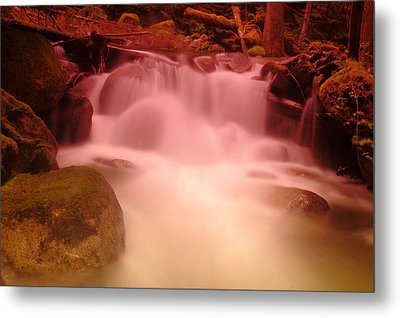 A Small Waterfall Along The Old North Cascade Highway  Metal Print by Jeff Swan