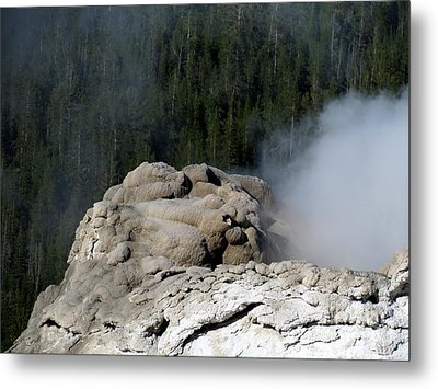 A Smoking Man. Yellowstone Hot Springs Metal Print by Ausra Huntington nee Paulauskaite