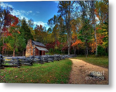A Smoky Mountain Cabin Metal Print