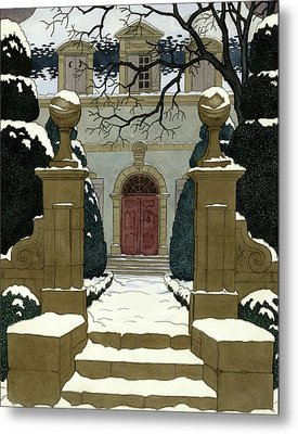 A Snow Covered Pathway Leading To A Mansion Metal Print