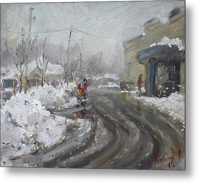 A Snow Day At Mil-pine Plaza Metal Print by Ylli Haruni