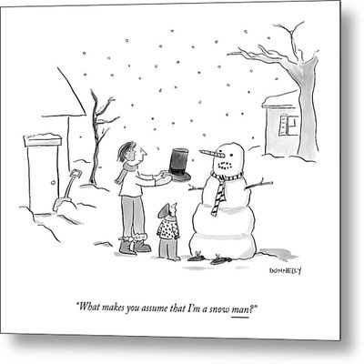 A Snowman Confronts A Mother Metal Print by Liza Donnelly
