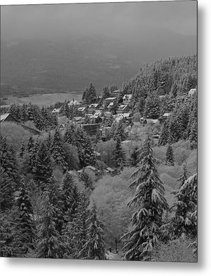 Metal Print featuring the pyrography A Snowy Alaskan Town. by Timothy Latta