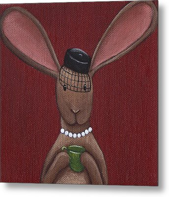 A Sophisticated Bunny Metal Print by Christy Beckwith