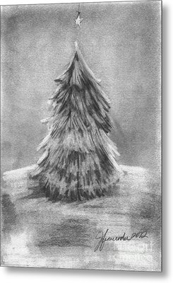 Metal Print featuring the drawing A Star Above by J Ferwerda
