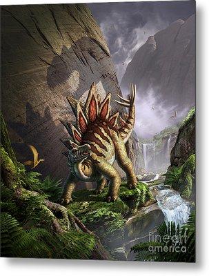 A Stegosaurus Is Surprised By An Metal Print by Jerry LoFaro