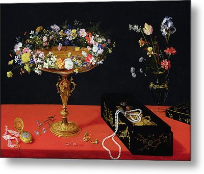 A Still Life Of A Tazza With Flowers  Metal Print