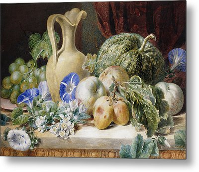 A Still Life With A Jug Apples Plums Grapes And Flowers Metal Print by Valentine Bartholomew