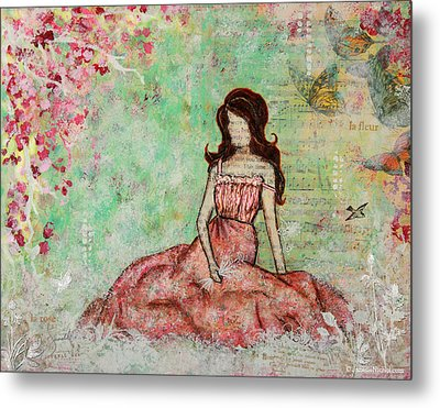A Still Morning Folk Art Mixed Media Painting Metal Print by Janelle Nichol