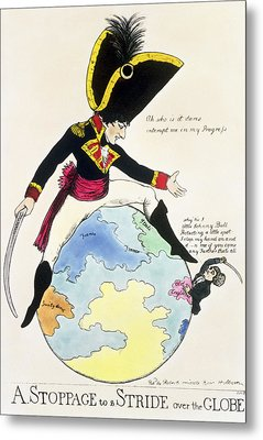 A Stoppage To A Stride Over The Globe, 1803 Litho Metal Print by English School