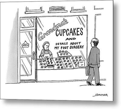 A Storefront Reads: Grandma's Cupcakes Metal Print by Joe Dator