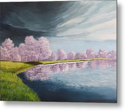 A Storm Over Cherry Trees Metal Print by Wanda Dansereau