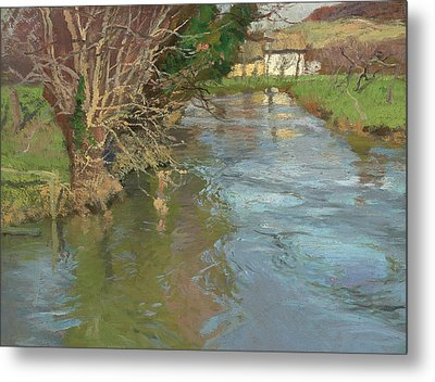 A Stream In Spring Metal Print by Fritz Thaulow