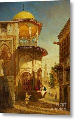 A Street Scene In Old Cairo Near The Ibn Tulun Mosque Metal Print