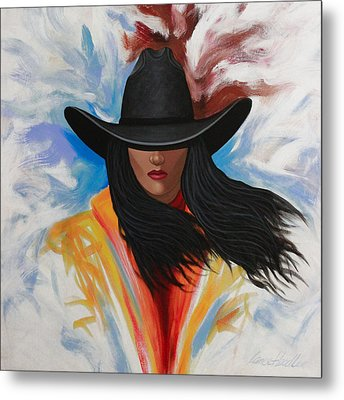 A Stroke Of Cowgirl Metal Print by Lance Headlee