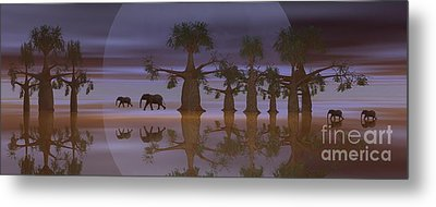 Metal Print featuring the digital art A Stroll By Moonlight by Jacqueline Lloyd