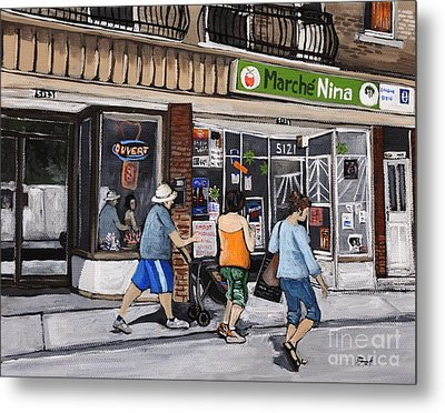 A Stroll Down Wellington Street In Verdun Metal Print by Reb Frost