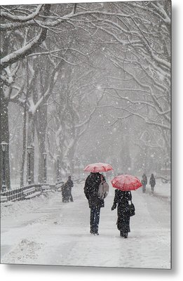 A Stroll In The Snow Metal Print