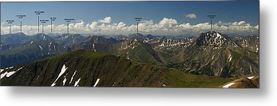 A Summit View Panorama Text Metal Print by Jeremy Rhoades