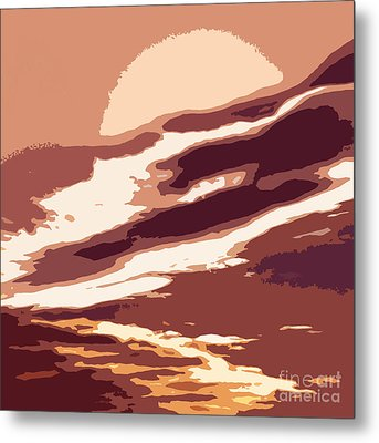 A Sunset In The Valley. Digital Drawing Metal Print