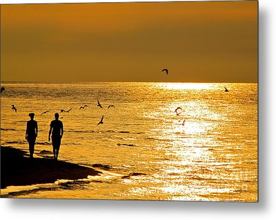 A Sunset Walk Metal Print
