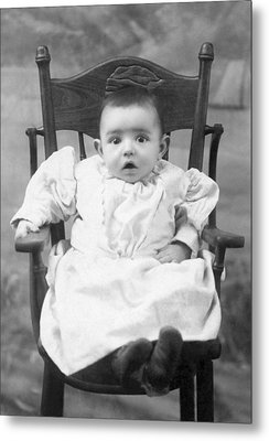A Surprised Baby Portrait Metal Print by Underwood Archives