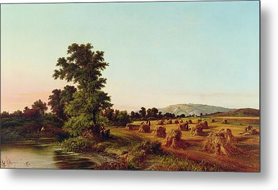 A Surrey Cornfield Metal Print by Walter Williams