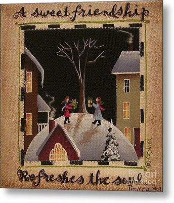 A Sweet Friendship  Winter Metal Print by Catherine Holman
