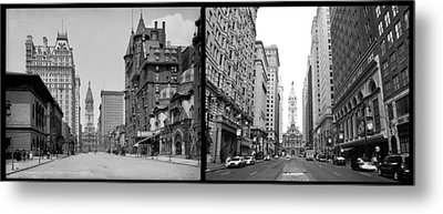 A Tail Of Two Cities - South Broad Then And Now Metal Print by Bill Cannon