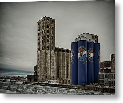 A Tall Blue Six-pack Metal Print