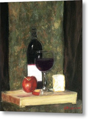 Metal Print featuring the painting A Taste Of Merlot by Cindy Plutnicki