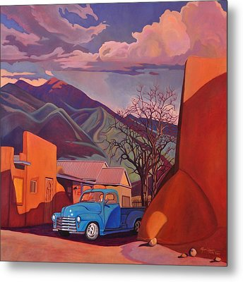 A Teal Truck In Taos Metal Print