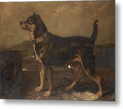 A Terrier In A Landscape Metal Print