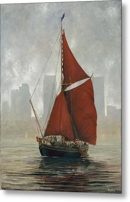 A Thames Barge By Canary Wharf Metal Print by Eric Bellis
